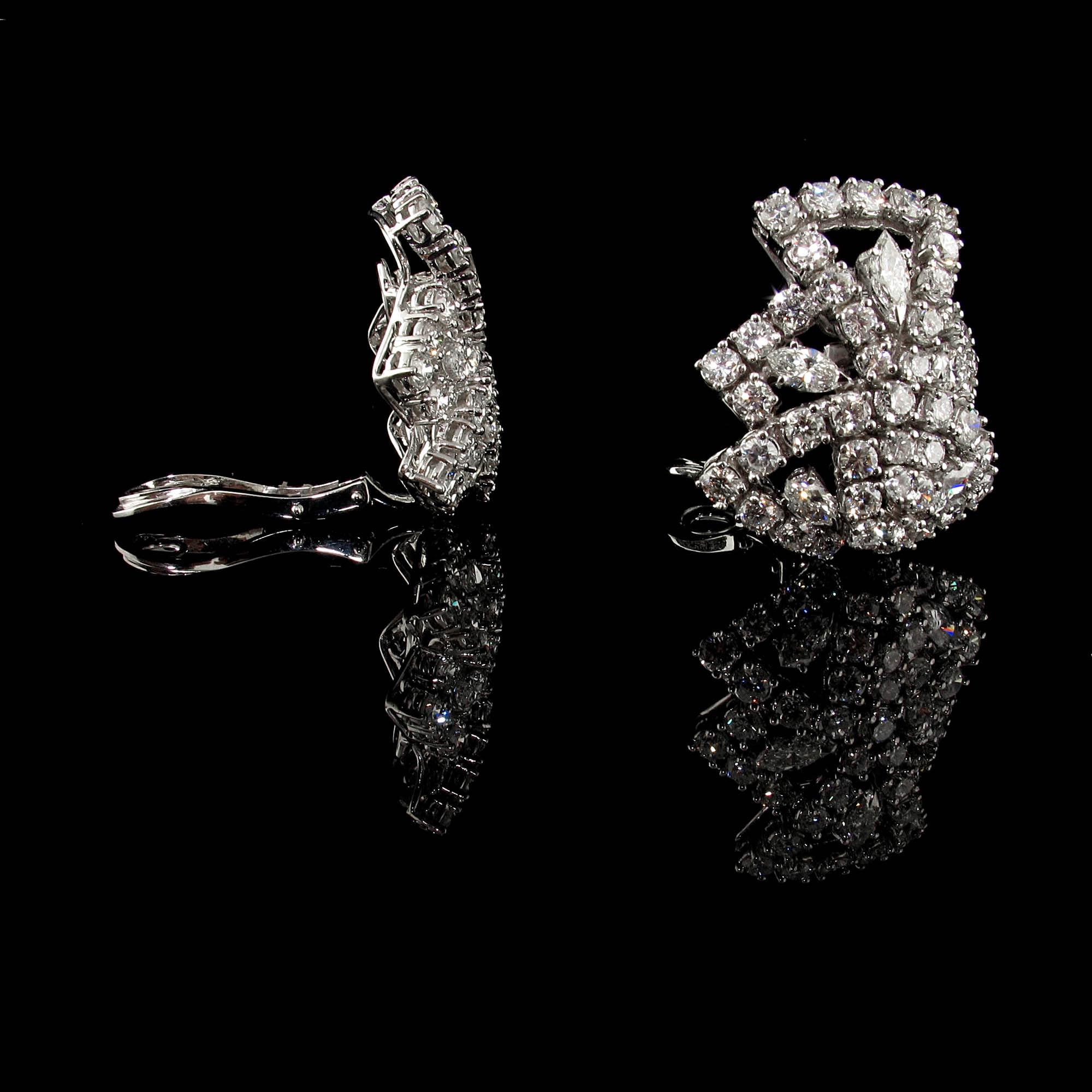 Diamond Clip Earrings In 18k