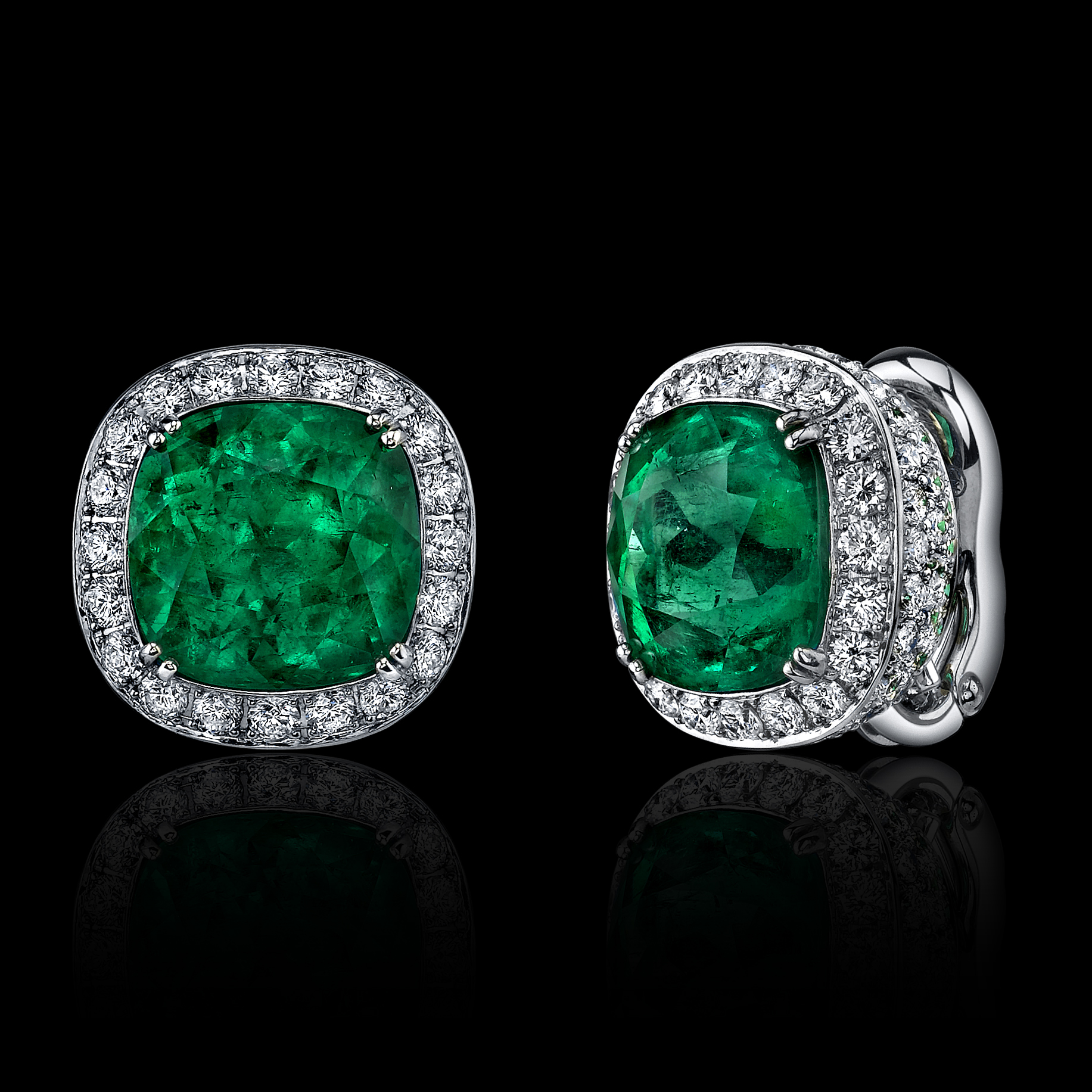 12 95ct Cushion Cut Emerald Diamond Earrings Kantor Gems